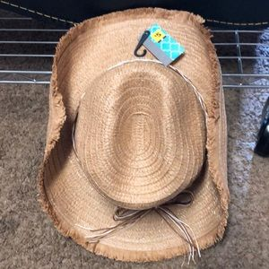NWT Women's straw cowboy hat w/paper ribbon trim